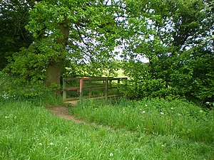 Footbridge on a public footpath A small footbr...