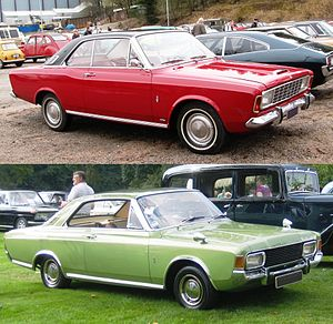 Ford P7 - The facelift of 1968, undertaken when the car had been on sale for less than a year, did not significantly change the overall silhouette of the car (here shown as a two-door coupé), but the new version came with several of the bumps and creases removed.
