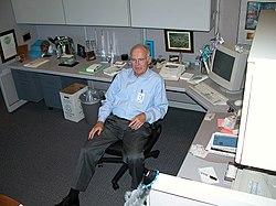 Former Intel CEO Gordon Moore in his cubicle.jpg