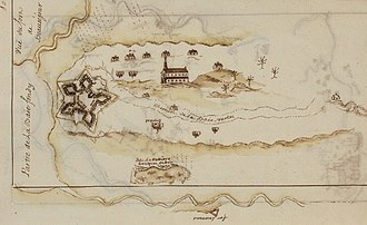 Battle of Fort Beauséjour - Fort Beausejour and St. Louis Catholic Church (c.1755)