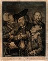 Four jovial gentlemen in a tavern, one holds a bowl to the f Wellcome V0019559.jpg