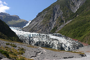 Fox Glacier - View of the glacier from the valley below.