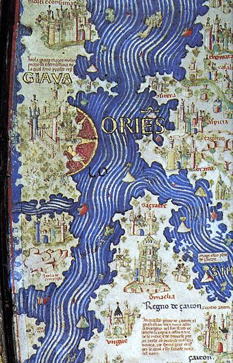 Names of Japan - Cipangu on the 1453 Fra Mauro map, the first known Western depiction of the island.