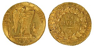 French livre - French 1793 24-Livre gold coin.
