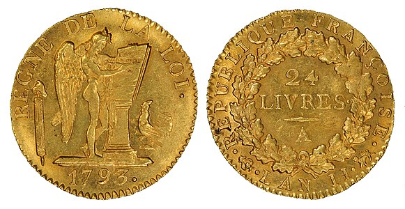 Gold coin of the French First Republic, 1793