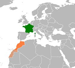 Map indicating locations of France and Morocco