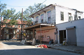 """Storyville, New Orleans - One of the few surviving buildings from Storyville, 2005 photograph. 100 years earlier, the """"New Image Supermarket"""" building housed Frank Early's saloon, where Tony Jackson regularly played."""