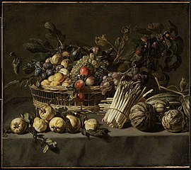 Vegetables and a Basket of Fruit on a Table