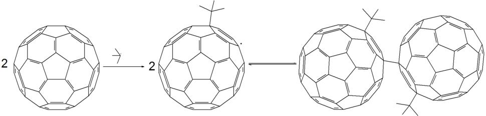 Free radical reaction of fullerene with tert-butyl radical