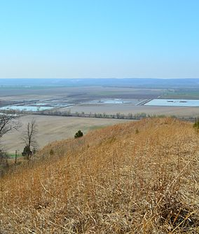 A steep hillside prairie overlooking the Mississippi River bottoms