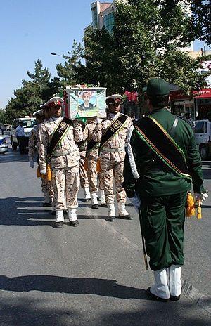 General Provost of Army of the Guardians of the Islamic Revolution - An honor guard of IRGC Provosts in funeral of a Martyr in 2013