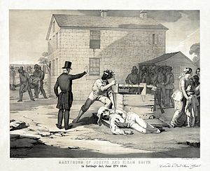 Anti-Mormonism - 1851 lithograph of Smith's body about to be mutilated (Library of Congress).