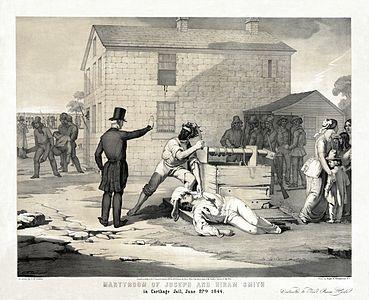 G. W. Fasel - Charles G. Crehen - Nagel & Weingaertner - Martyrdom of Joseph and Hiram Smith in Carthage jail, June 27th, 1844.jpg