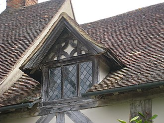 Wall dormer - A gabled wall dormer at Stoneacre, Kent, England (late 15th century).