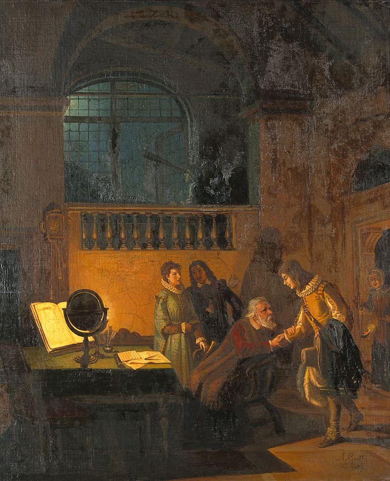 Galileo Galilei receiving John Milton. Oil painting by Annib Wellcome V0017870.jpg
