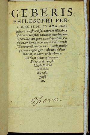 Pseudo-Geber - Geberis philosophi perspicacissimi, summa perfectionis magisterii, 1542