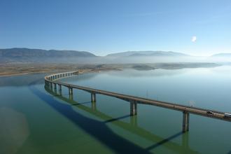 Lake Polyfytos Bridge - West Macedonia. The bridge over the Polyphytos artificial lake of the river Aliakmonas in Kozani regional unit.