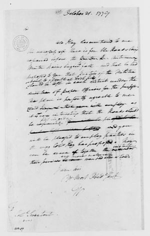 Jacobus Swartwout - General George Washington to Colonel Swartwout, Library of Congress