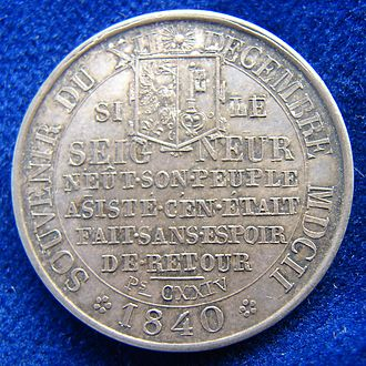 L'Escalade - Geneva Medal 1840. Commemoration of L'Escalade 1602, obverse.