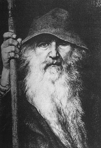 Odin - Odin, in his guise as a wanderer, by Georg von Rosen (1886).