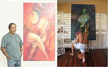 Composite image showing George Simon with his painting Bimichi I and working on his painting Bimichi II