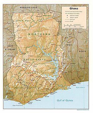 Geography of Ghana - Map of Ghana