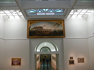 Gilcrease Museum - Gilcrease Museum: Entrance hall with painting of the Battle of Chapultepec