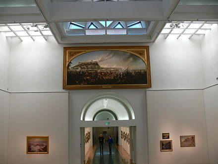 Gilcrease Museum: Entrance hall with painting of the Battle of Chapultepec Gilcrease - Grosser Saal mit Schlacht von Chapultepec.jpg