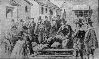 Crushing (execution) - Giles Corey was pressed to death during the Salem Witch Trials in the 1690s.