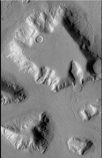Terra Sabaea - Image: Glacier as seen by ctx