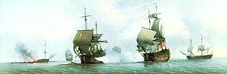 Voyage of the Glorioso - The Glorioso engaged by the Russell in her last battle. The wreck of the sinking Dartmouth is seen on the background.