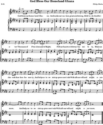 "God Bless Our Homeland Ghana - The lyrics of ""God Bless Our Homeland Ghana"" above a orchestral reduction sheet music of the National Symphony Orchestra Ghana."