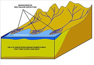"Witwatersrand - A diagrammatic presentation of the rivers that flowed into the Witwatersrand sea after 43000 m of sediment had already been deposited in the basin. The fast flowing rivers cascading down the mountains to the north now flowed over a wide flat coastal plain to form broad deltas of sluggish braided rivers, where the heavy materials (cobbles, gold, uranium and iron pyrite etc.) carried down from the mountains settled out, to form the gold bearing ""Central Rand Group"" deposits. Today's gold ore is confined to the fossil river deltas."