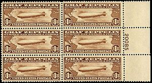 1930 Graf Zeppelin stamps - Plate Block of six stampsA plate block is a portion of four or more stamps taken from a complete sheet of stamps, in 'block' form, including a margin with a number that designates a particular printing run.