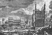 la Grand Place dopo il Bombardamento di Bruxelles del 1695 in una stampa su disegno di Augustin Coppens