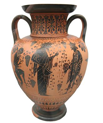 Greek wine - Dionysus with Hermes, a silenus and grapes