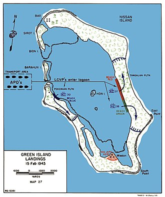 Battle of the Green Islands - Map of the landing, 15 February 1944