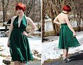 Green Backless V-neck Dress with Silver Heels and a Red Pixie Cut.jpg