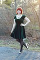 Green Velvet Dress, Bow Print Tights, and Rose Gold Heels.jpg