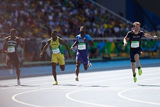 Athletics at the 2016 Summer Olympics – Men's 100 metres - Heat 5 finish