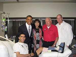 Florent Groberg - Groberg with President Obama, his parents Klara and Larry Groberg, and friend, Matthew Sanders, on September 11, 2012 at Walter Reed National Medical Center.