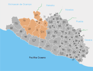 "locator map of the region ""Tierra Calient..."