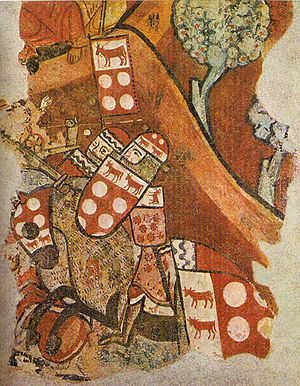 Guillem II de Montcada - Guillem II in a fresco on the walls of the house once belonging to Berenguer d'Aguilar de Barcelona. His shield shows a combination of the arms of Montcada and those of Béarn.