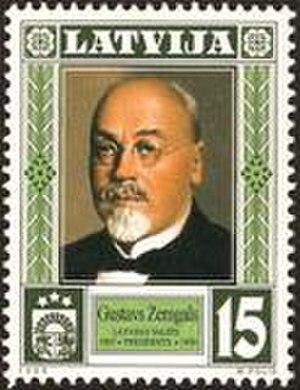 Gustavs Zemgals - Gustavs Zemgals on a Latvian stamp