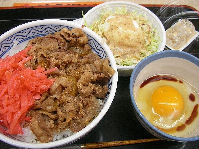 http://upload.wikimedia.org/wikipedia/commons/thumb/1/1d/Gyudon,_potato_salad_and_raw_egg_by_jetalone_in_Ochanomizu,_Tokyo.jpg/800px-Gyudon,_potato_salad_and_raw_egg_by_jetalone_in_Ochanomizu,_Tokyo.jpg