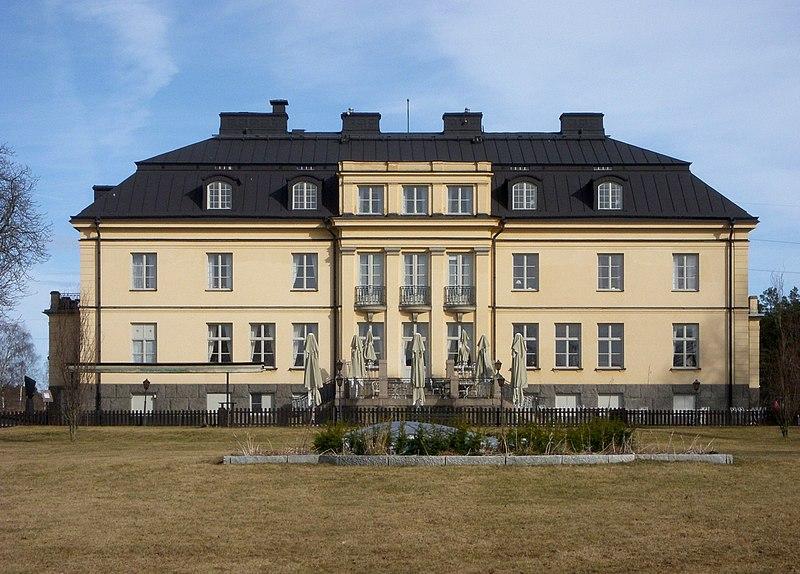 Hågelby gård, huvudbyggnad, fasad mot väst, mars 2012.
