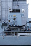 HMS Northumberland (F238) at West India South Dock - speed boat 02.JPG