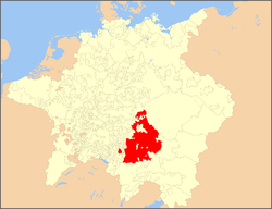 Bavaria highlighted on a map of the Holy Roman Empire in 1648