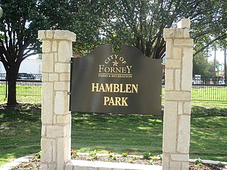 Forney, Texas - Hamblen Park is located behind City Hall and near the Missouri Pacific Railroad car in Forney.