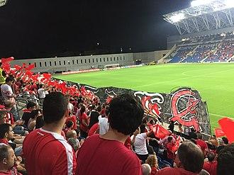 Hapoel Tel Aviv F.C. - Hapoel Tel Aviv fans at HaMoshava Stadium, 2016